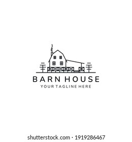 barn house minimalist simple line art icon logo template vector illustration design, farm house minimalist line art logo