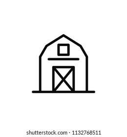 Barn icon illustartion. Farm wooden warehouse minimal logo on white background.