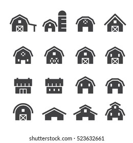 barn icon set