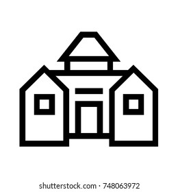Barn line icon, outline vector sign, linear style pictogram isolated on white background. Symbol, logo illustration. Editable EPS file.
