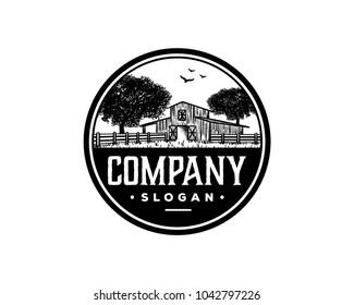Barn with Oak tree and Flying Birds Hand Drawing Symbol Farm Logo Vintage Circle Vector