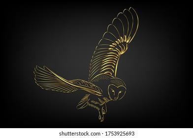 Barn owl flying over black background ,illustration Golden border tattoo over black background