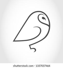 Barn owl symbol, icon outline. Design element