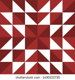 Barn quilt pattern, Amish Patchwork design, Abstract geometric tiled trail Vector illustration