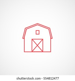Barn Red Line Icon On White Background