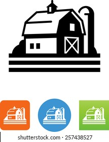 Barn with silo icon