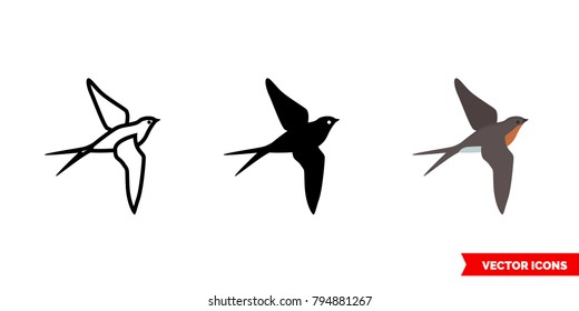 Barn swallow icon of 3 types: color, black and white, outline. Isolated vector sign symbol.