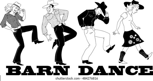 Barn western dance vector line art, no white objects,  EPS 8