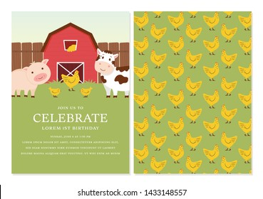 Barnyard Birthday Invitation Template Design with Back Design