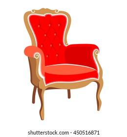 Barocco red armchair vector