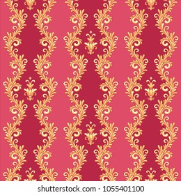 Barocco style pattern with gold waving borders on red background. Seamless pattern for your design and decoration