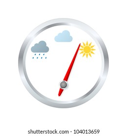 Barometer aneroid indicates sunny weather. Vector illustration
