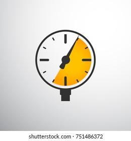 Barometer, pressure gauge. Black and yellow on light background