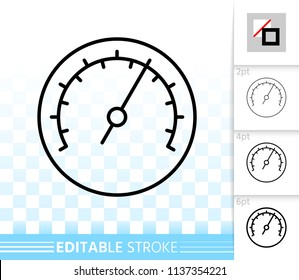 Barometer thin line icon. Outline web sign of meter. Speedometer linear pictogram with different stroke width. Simple vector symbol, transparent background. Barometer editable stroke icon without fill