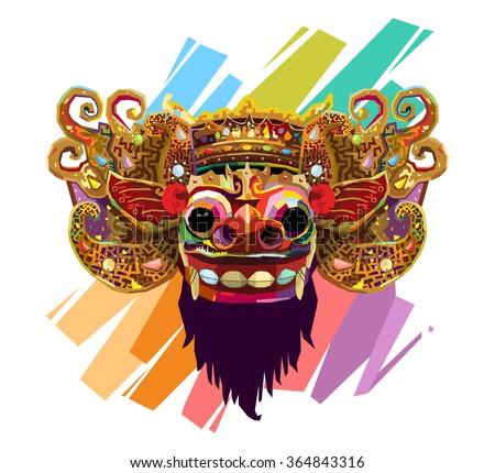Barong Bali Wpap Stock Vector Royalty Free 364843316 Shutterstock