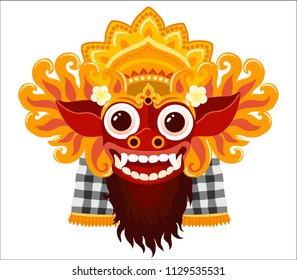 Barong balinese god vector mask in cartoon style isolated on white background