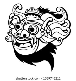 Barong Mask Logo, A Traditional dance from Bali Indonesia Cartoon Vector