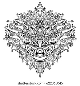 Barong. Traditional ritual Balinese mask. Vector decorative ornate outline illustration isolated. Hindu ethnic symbol, tattoo art, yoga, Bali spiritual design for print, posters, t-shirts, textiles.