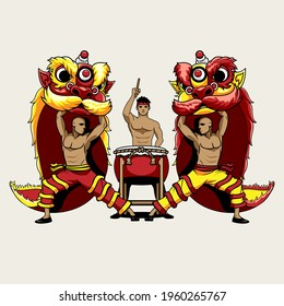 Barongsai Lion Dancers and a Drummer vector illustration for greeting card, design element, flyer, poster or any other purpose.
