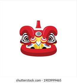 Barongsai traditional costume head helmet chinese happy new year digital design graphic 2d hd illustration