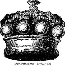 Barons Coronet is a official coronet of a European baron vintage line drawing or engraving illustration.