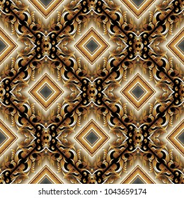 Baroque 3d seamless pattern. Modern vector damask background wallpaper with vintage gold flowers, scroll leaves, rhombus, frames,  meanders and greek key ornaments. Luxury surface design with shadows