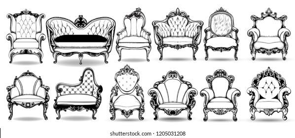 Baroque armchair and sofa set. Vector French Luxury rich intricate structure. Victorian Royal Style decor with luxurious ornaments