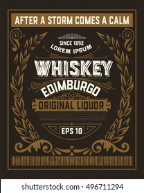 Baroque card for whiskey or other products.