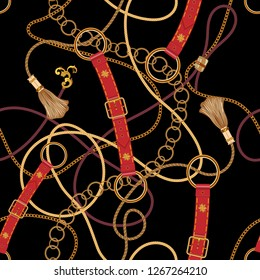 Baroque chains and belts. Vector seamless pattern for scarf.