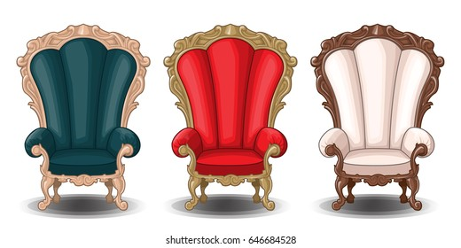 Baroque chair 3 colors vector
