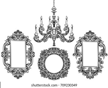 Baroque chandelier and mirror frames. Detailed rich ornament vector illustration graphic line art