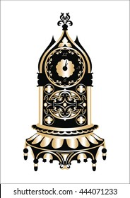 Baroque Classic Golden clock Vector. Rich ornamented Baroque Style clock