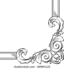 Baroque corner is on white