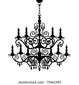 Baroque decorative chandelier silhouette isolated on white, full scalable vector graphic