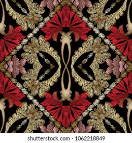 Baroque embroidery ornate seamless pattern. Floral vector tapestry background. Wallpaper design. Vintage embroidered red flowers, gold leaves, scrolls, frames. Antique fancywork surface ornament.