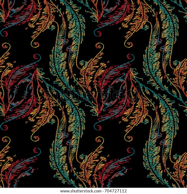 Baroque Embroidery Seamless Pattern Floral Damask Stock