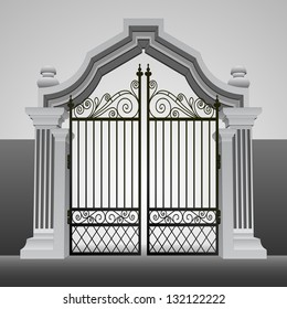 baroque entrance gate with iron fence vector illustration