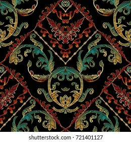 Baroque floral embroidery seamless pattern. Vector hatching grunge background. Vintage embroidered wallpaper. Colorful tapestry flowers, leaves. Antique  damask ornaments. Embroidered design.