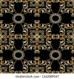 Baroque floral vector seamless pattern. Abstract geometric ornamental Damask background. Greek key meanders circle ornament.  Old decorative design with gold vintage flowers, scroll leaves, frames.