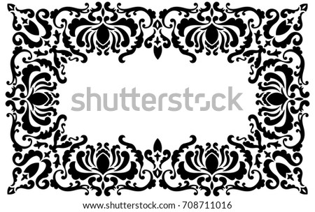 Baroque Frame Silhouette Floral Elements Vintage Stock Vector ...