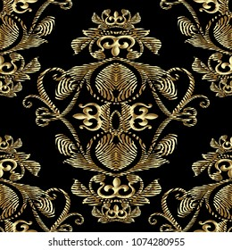 Baroque gold embroidery 3d seamless pattern. Vector patterned tapestry background. Vintage line art tracery embroidred antique royal ornaments,  flowers, abstract vintage crown, scroll lace leaves.