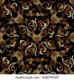 Baroque gold floral embroidery seamless pattern. Vector grunge textured background. Golden tapestry vintage flowers pattern with hatching lines, flowers, leaves, scrolls, swirls, antique ornaments.