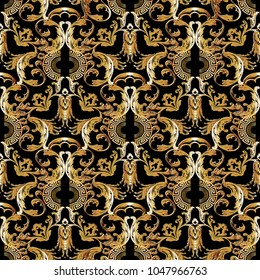 Baroque gold seamless pattern. Vector floral vintage background, wallpaper with antique baroque flowers, scroll leaves, circles, meander, greek key ornaments. Ornate surface design with shadows.