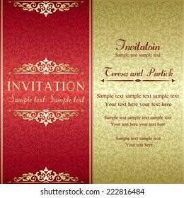 Baroque invitation card in old-fashioned style, gold and red
