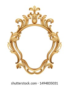 Baroque luxury golden frame Vector. Elegant mirror decor. Victorian ornaments rich framed trendy design