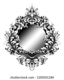 Baroque Mirror frame Vector. French Imperial Luxury rich intricate ornamented details. Victorian Royal Style decors