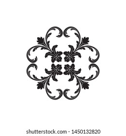 Baroque ornament. Black and white engraved ink art.
