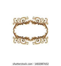 Baroque ornament with filigree in vector format for design frame, pattern. Vintage victorian or damask floral element.