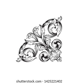 Baroque ornament with filigree in vector format for design frame, pattern. Vintage victorian or damask floral element.