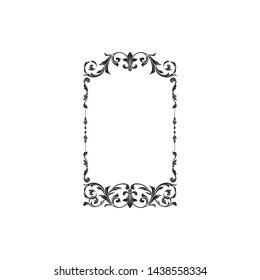 Baroque ornament with filigree in vector format for design frame, pattern. Vintage victorian or damask floral element for carving. Intertwining Engraving Scroll.